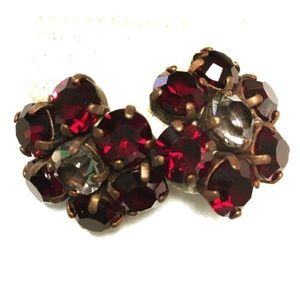 Anthropologie Vintage Brass Ruby Floral Earrings